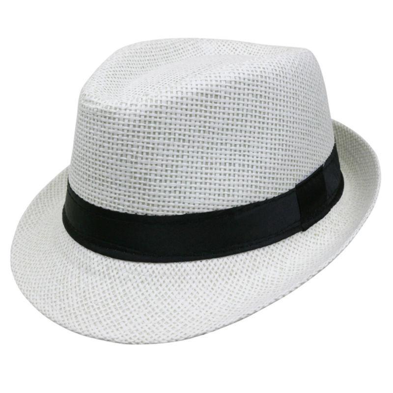 Estilo de verano para niños Sombrero para el sol Playa Trilby Sombrero para el sol Sombrero de paja Panamá Para niño niña Ajuste para niños Niños 54 cm Mezcla al por mayor 6 Unids / lote