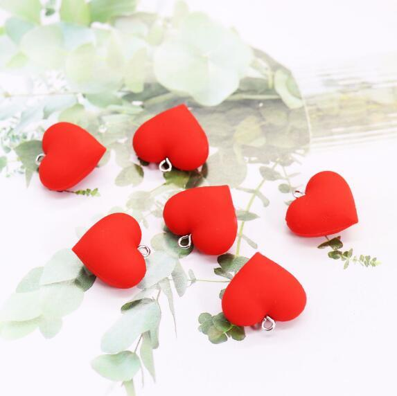 10pcs/Lot jewelry Accessories red color heart shape rubberPlastic Stud Ear Studs Jewelry Findings Components charmsfor earring studs