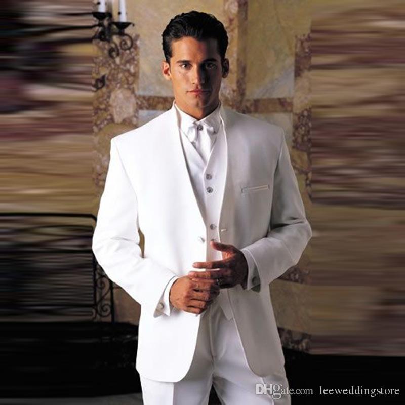 Mężczyźni Garnituje Białe Garnitury Ślubne Dla Mężczyzna Oblubienica Custom Made Slim Fit Formalne Tuxedos TailCoat Męski Grarz Wear Prom 3pieces Kurtka + Pant + Kamizelka