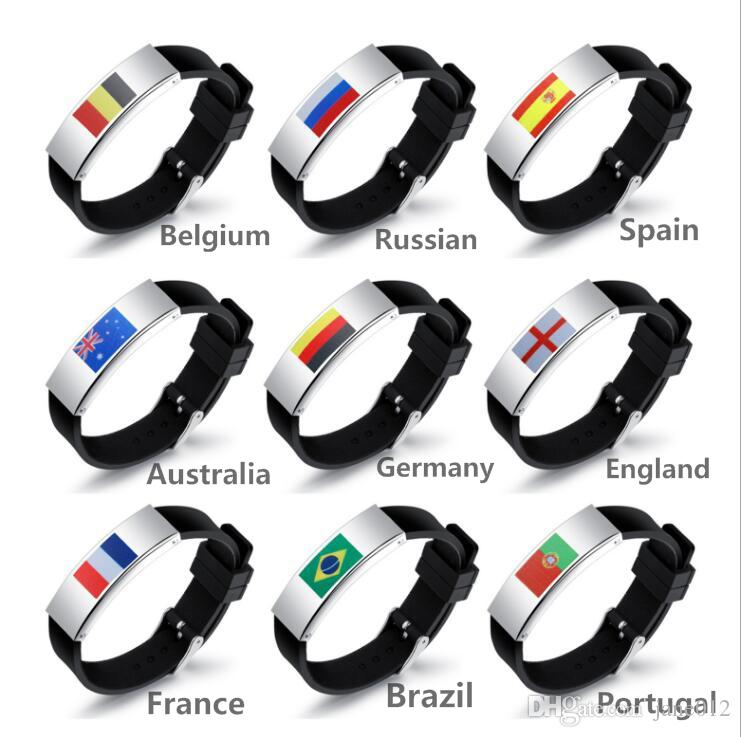 Personality Silicone ID Bracelets for Mens Titanium Steel Football Fans Flag Symbol Watch Clasp Wristband free shipping