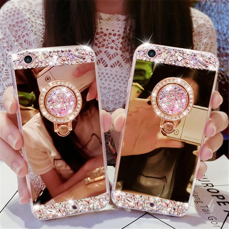 Caja del teléfono del espejo del anillo del dedo del diamante para el iPhone 6 6s 7 8 más X XS max XR para el borde de Samsung galaxy s6 s7 s8 s9 más nota 5 8 9