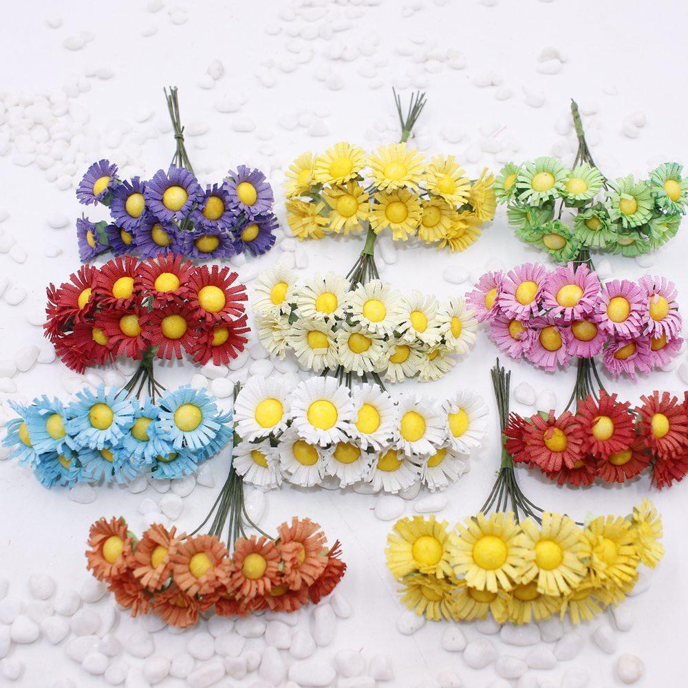 120 adet / grup yapay çiçekler Sahte çiçekler simülasyon küçük papatya çiçek ayçiçeği ayçiçeği garland DIY malzemeler whol
