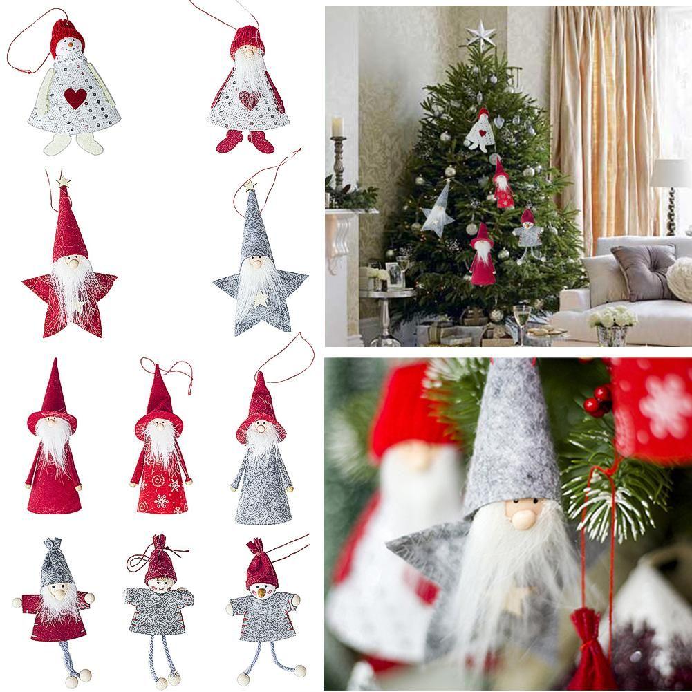 Mini Wooden Christmas Cloth Doll Pendant Christmas Tree Cute Doll Home Ornament~