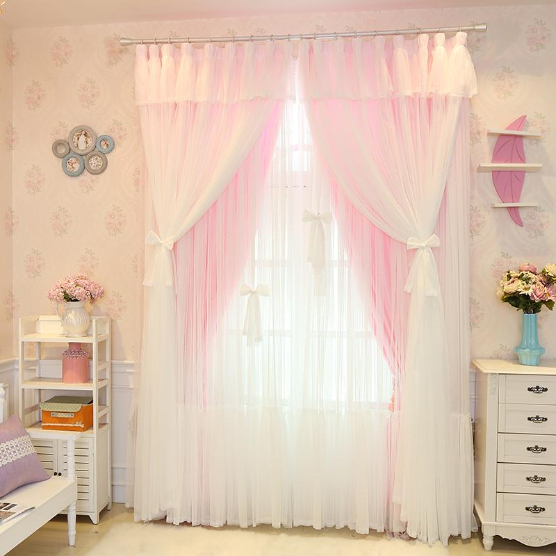 Senisaihon Christmas Princess Lace Pink Blackout Curtain Girl Bedroom Tulle  Curtain Wedding Room Voile for Living Room
