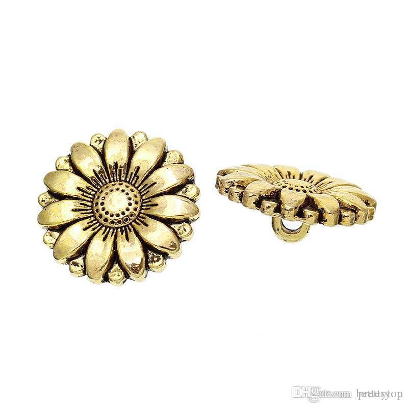 Caldo stile di oro antico piombo e nichel a forma di girasole bottoni in metallo con fascino moda 18 mm