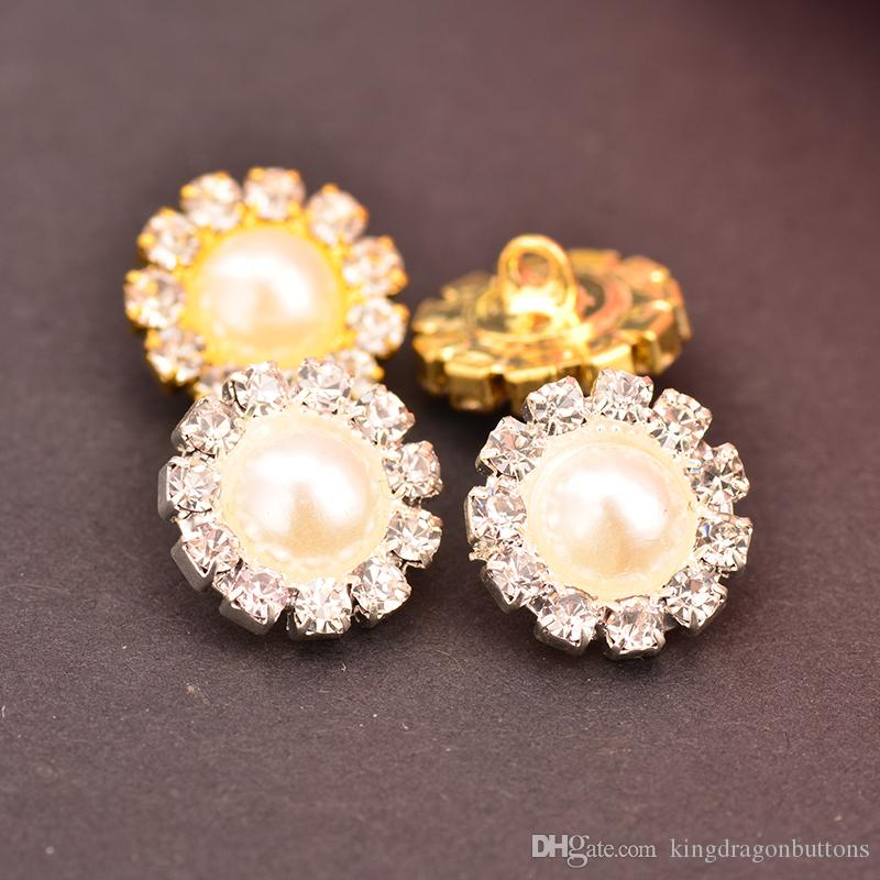 Diamantes de imitación de la perla botones que se utilizan en los centros de flores bucle de retorno de 10MM 20PCS / Lot del color oro o plata en color KD128