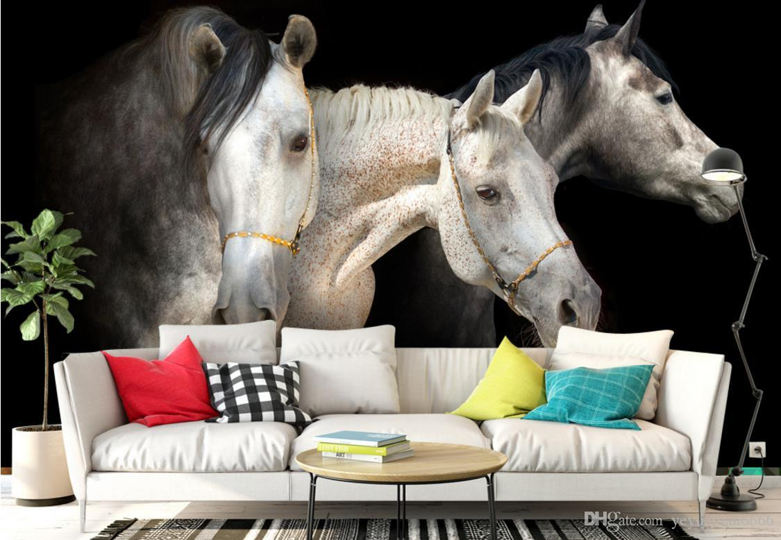 Custom 3D Wallpapers For Walls Photography Background Wall Home Decor Nonwoven Wallpaper Horses 3D Background Painting
