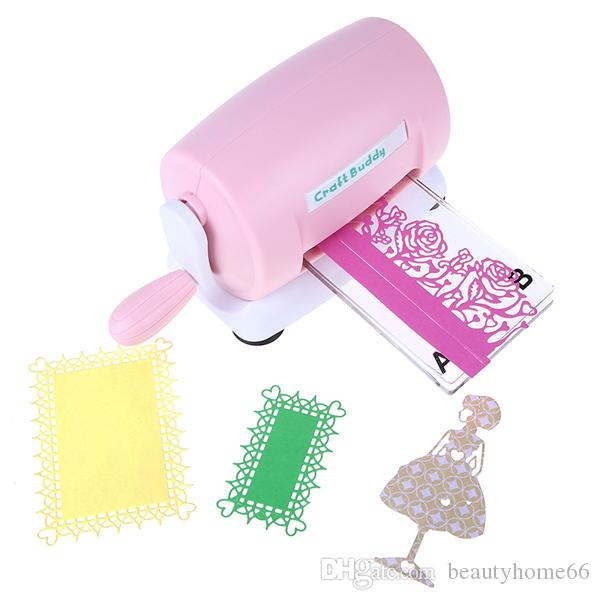 2018 DIY Scrapbooking Embossing Machine Die Cutting Embosser Cutting Paper Scrapbooking Cutter Piece Die Cut Pink Craft Buddy Free Shipping