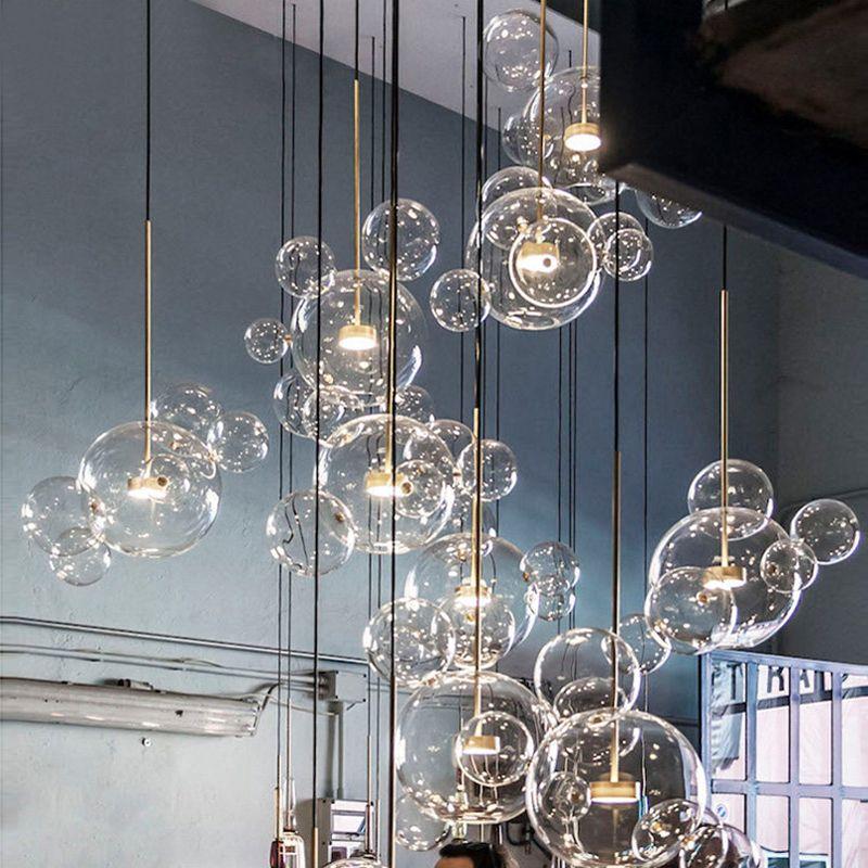 lampade a sospensione in vetro minimalista lampadario molecolare nordico designer italiano creativo bolle di vetro ristorante ristorante lampade a sospensione