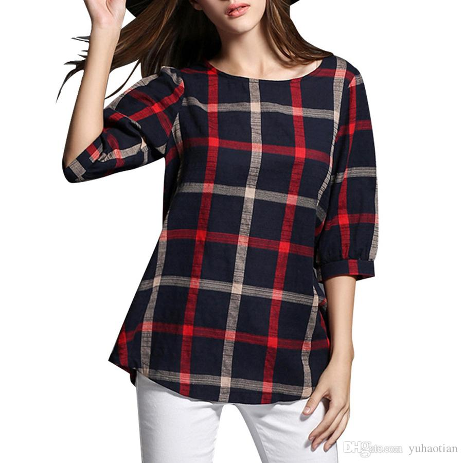 New Women Sleeveless Summer Tops Plus Size Fashion O-neck Causal Pure T-Shirt Plaid Printed Cotton and Linen Blend T-Shirt 8802