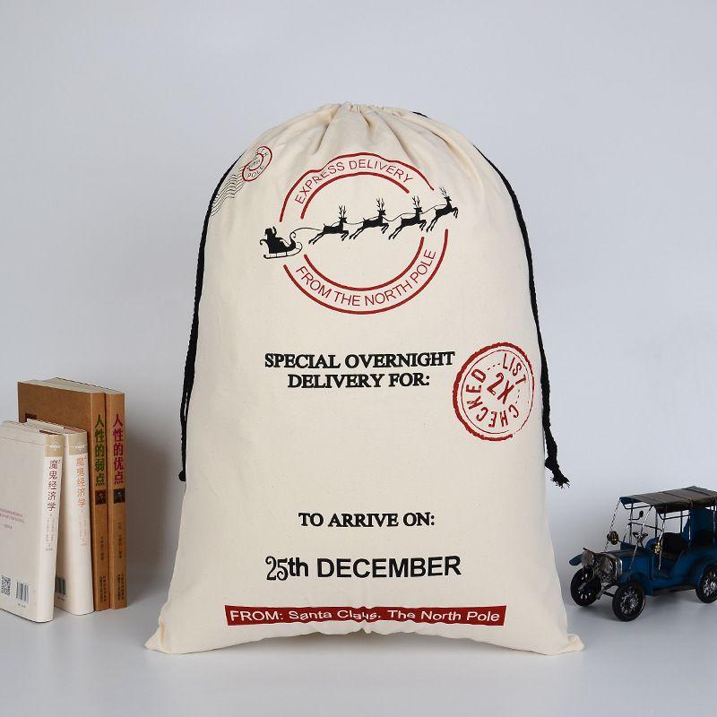 Bolsas de regalo de navidad Bolsa de lona pesada grande orgánica Saco de Santa Bolsa de lazo con renos Bolsas de saco de Santa Claus para niños