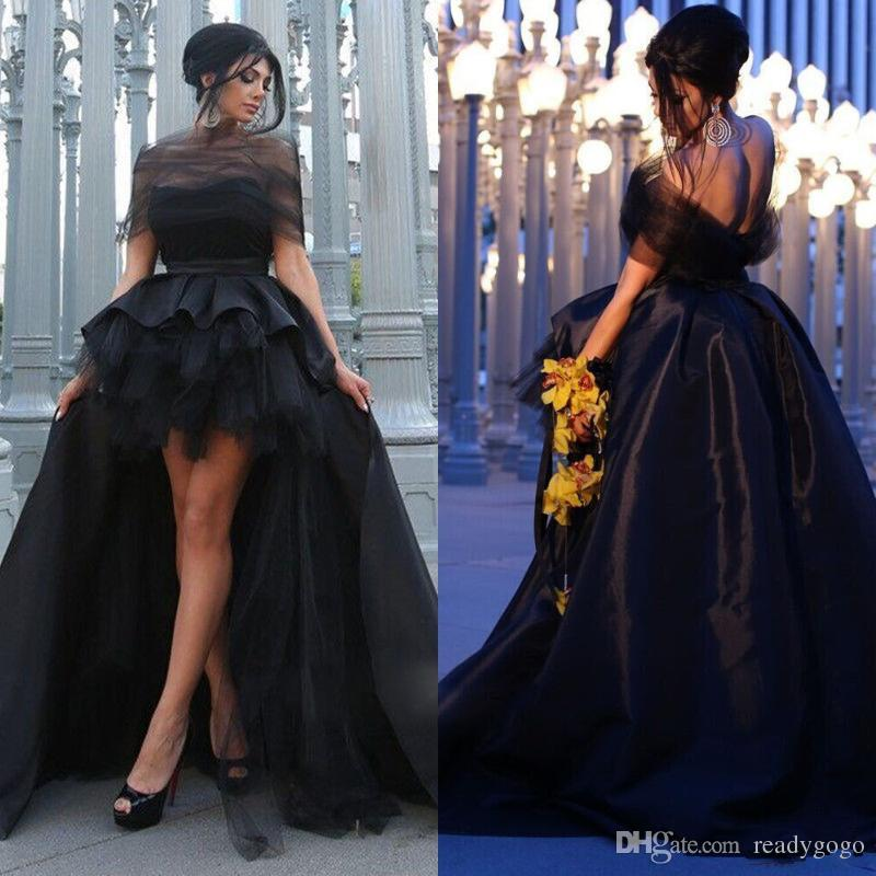 Elegant Hi Low Black Short Puffy Prom Dresses With Detachable Train 2019 Sweetheart Formal Party Dresses Special Cocktail Dresses