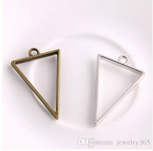 Hot 100pcs Vintage Style Bronze Silver Alloy Triangle Charms Hollow glue blank pendant tray bezel charms For Jewelry Making 39x25mm