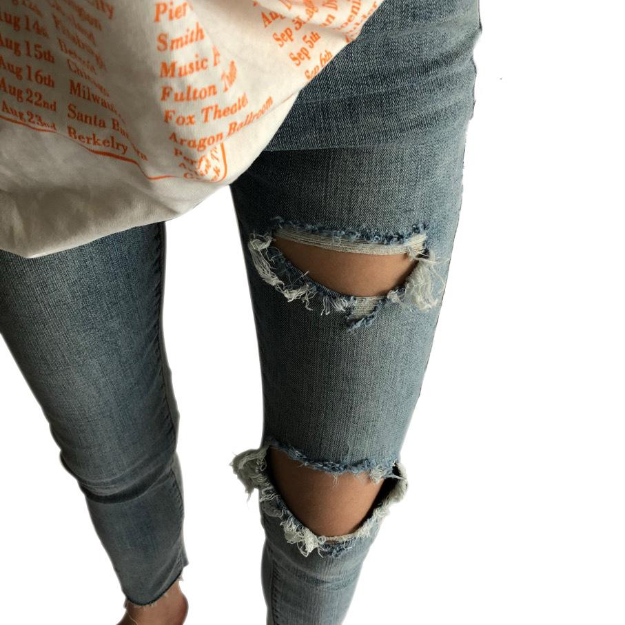 Ripped Jeans For Women Slim Pencil Pants Vintage High Waist Holes Jeans Ankle Length Denim Skinny Pants Capris Trousers