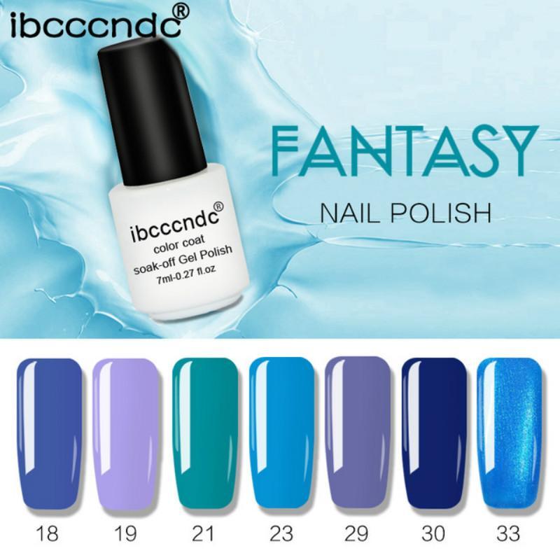 7 unids / lote color puro esmalte de uñas de gel azul púrpura color 7 ml esmalte de uñas UV barniz semi permanente laca del arte del clavo
