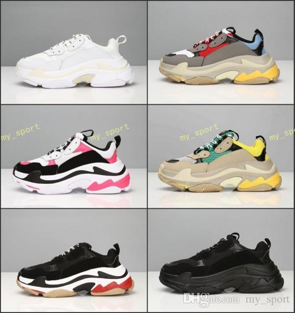 Hot !! 2019 Fashion Paris 17FW Triple-S Sneaker Triple S Casual Dad Scarpe per uomo Donna Beige Nero Ceahp Calzature sportive firmate Taglia 36-45