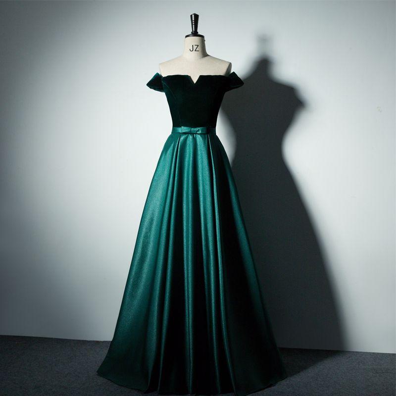 Abiti Da Cerimonia On Line.Boat Neck Velvet Satin A Line Long Prom Dresses Emerald Green