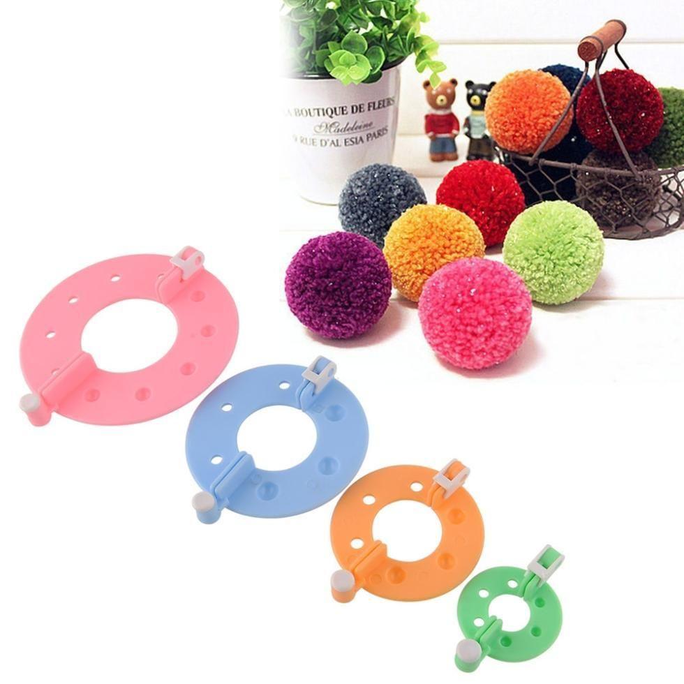 4 Tamanhos / lote Pom pom maker ferramentas para tricô appareil bommel fabricante de pompons trevo fluff bola tecelão agulha ferramentas de arte artesanal para o bordado