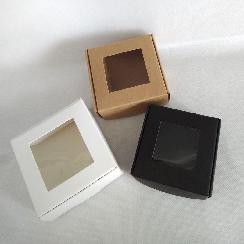50 pcs 65 * 65 * 30mm, 70 * 70 * 30mm folding preto caixa de papel kraft em branco com janela pvc suprimentos de embalagem de presente bolo do partido de cozimento caixa de doces