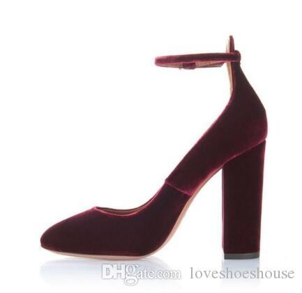 Nuovi arrivi vino rosso velluto tacchi alti pompe per le donne tacchi alti cinturino alla caviglia primavera autunno vestito scarpe punta rotonda pompe alte