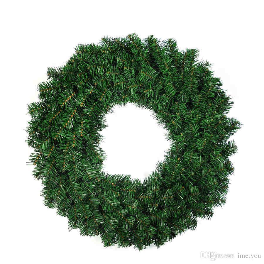 Christmas Flower Decorations.30cm 40cm Pvc Diameter Wreath Green Christmas Flower Circle Christmas Decoration Christmas Wreath Gift New Year Supplies Xmas Christmas Decorations On
