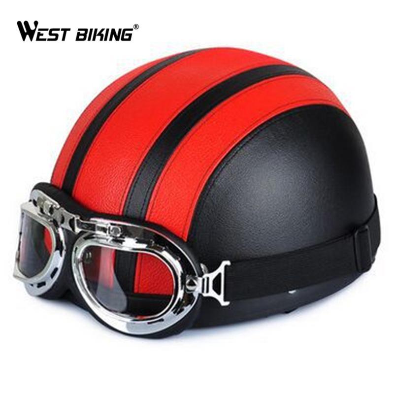 Ciclismo Abrir rosto meio Leather Helmet with Style 54-60cm Visor UV Goggles Vintage Retro Professional Moto Scooter Capacete de bicicleta