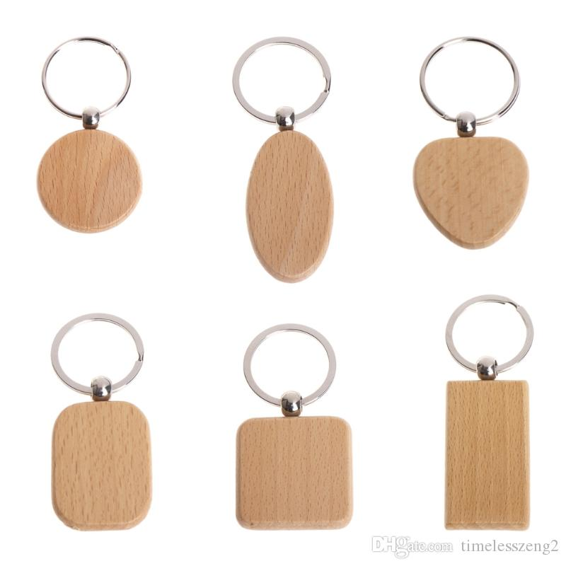 모양의 천연 목재 열쇠 고리 A는 다양한 라운드 사각형 심장 열쇠 고리 Ctrative 안티 잃어버린 나무 키 체인