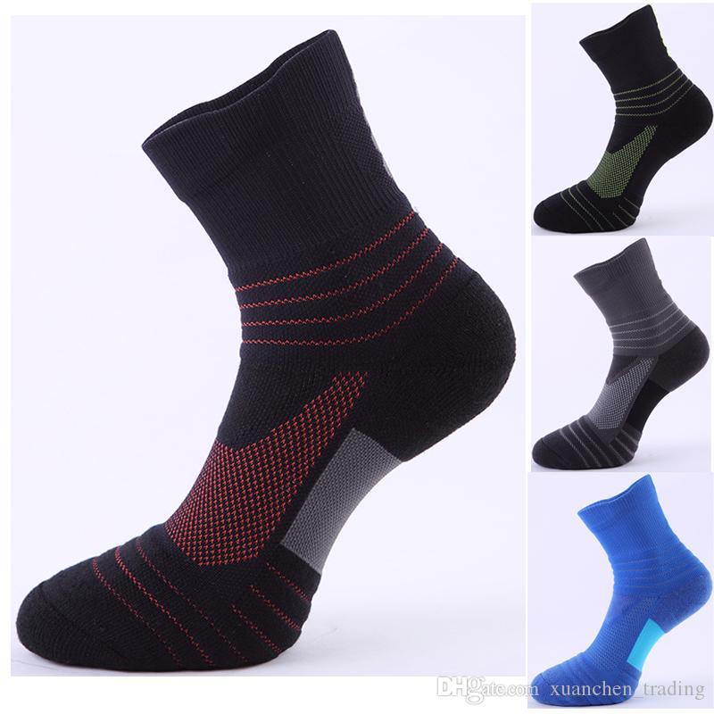 2018 Men Elite Cycling Sock Basketball Socks Thicker Non-slip Breathable Male Compression Socks Men's Outdoor sports Tube socks wholesale