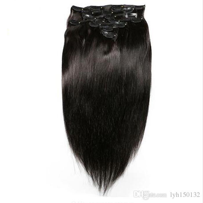 O grampo na máquina feita sob encomenda das extensões do cabelo humano fez a cabeça completa do cabelo 7PCS Remenda o grampo grosso virgem natural na extensão do cabelo