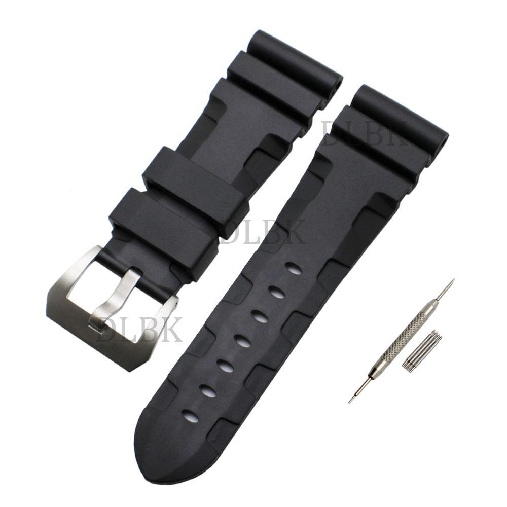 24mm 26mm (fivela 22mm) homens preto de borracha de silicone pulseira de relógio pulseira esporte pulseira de aço inoxidável fivela para panerai luminor
