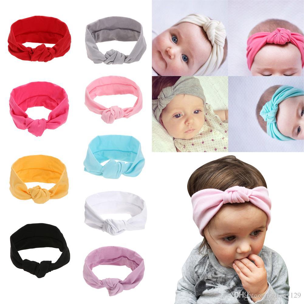 niñas Tie venda del nudo de punto de algodón muchachas de los niños vendas elásticos arcos Turban para la muchacha de las vendas del pelo del envío libre de Accesorios
