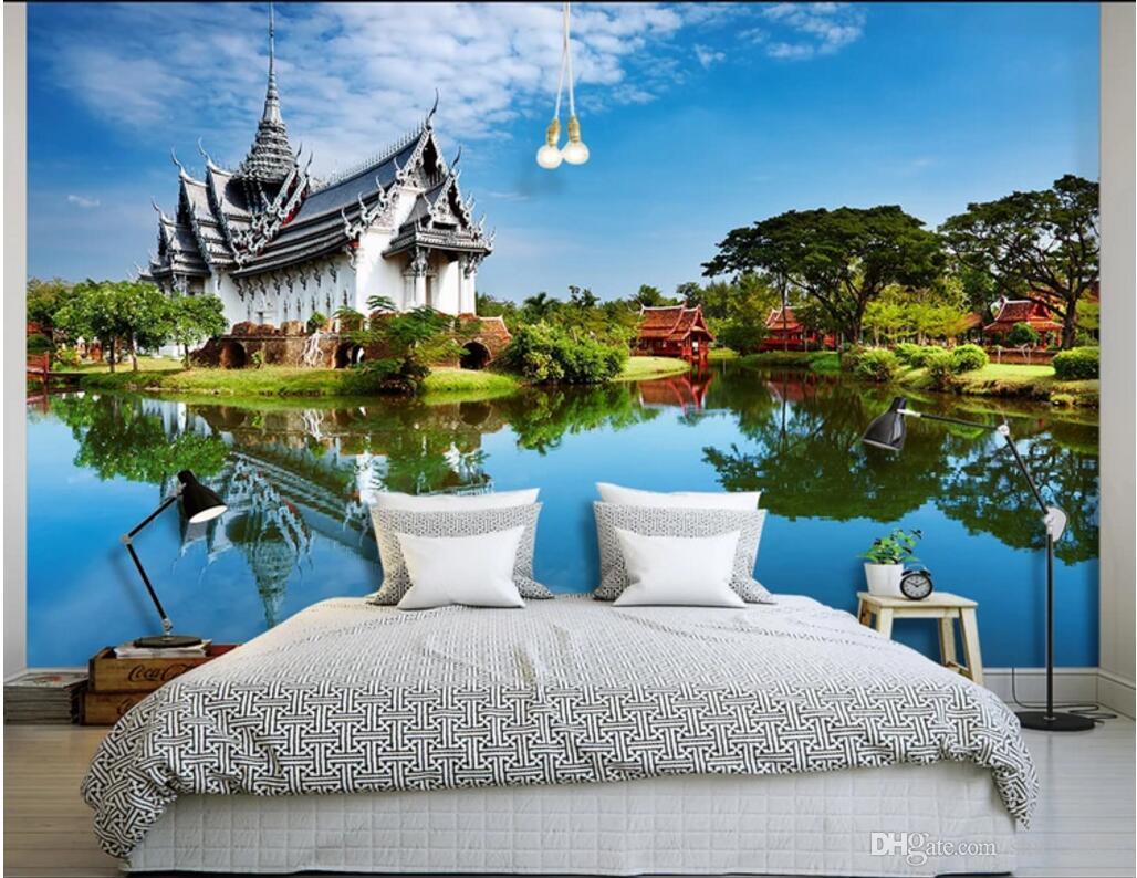 Compre 3d Room Wallpaper Cloth Custom Photo Tailandia Templo Paisaje Natural Paisaje 3d Murales De Pared Papel Pintado Para Paredes 3 D Imprimir Tela