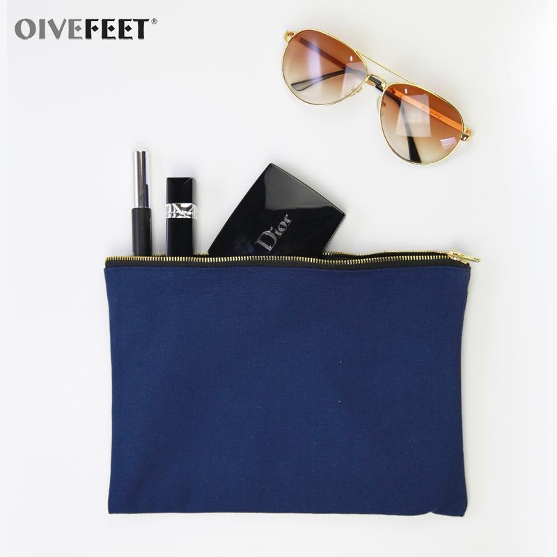 Oivefet LGC190 ، عادي أسود القطن قماش حقيبة ماكياج التجميل زيبر الحقيبة سفر أدوات الزينة حقيبة 5 لون الذهب زيبر مخصص استعرض