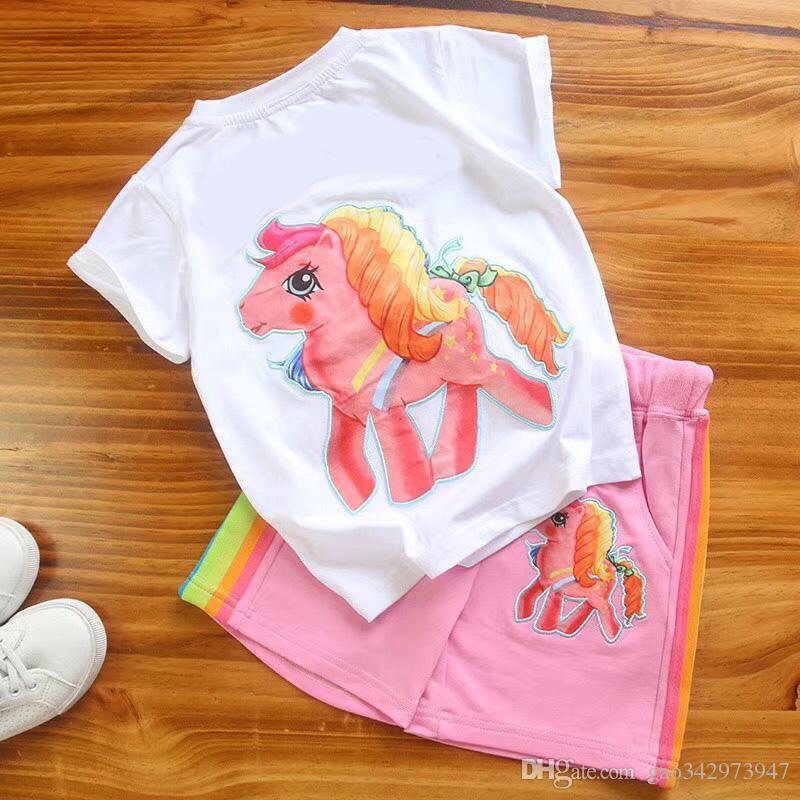 Ropa de bebé infantil para niñas Camiseta de algodón de dibujos animados de manga corta + Pantalones cortos Set de deporte de verano con letra impresa de caracteres Ropa
