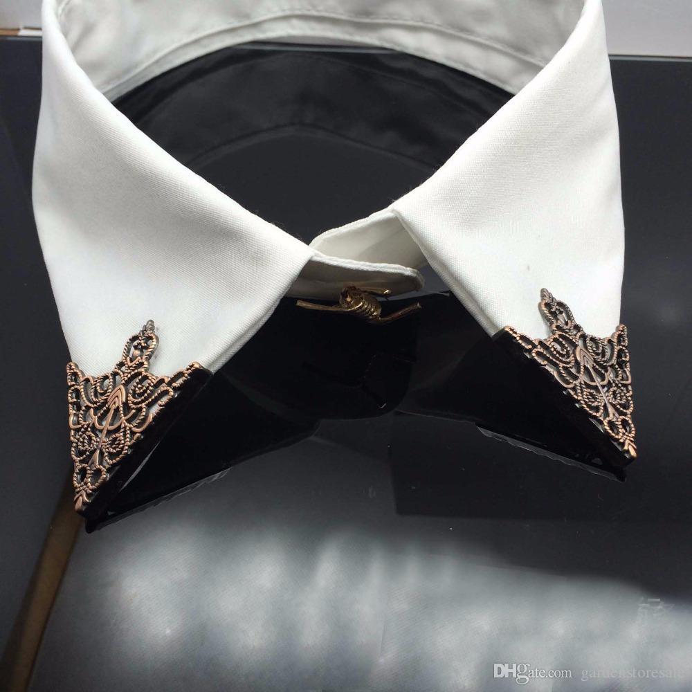 أزياء سبائك بروش الجوف نمط طوق زاوية قصر الرجعية مثلث القمصان طوق دبابيس النساء الرجال المجوهرات