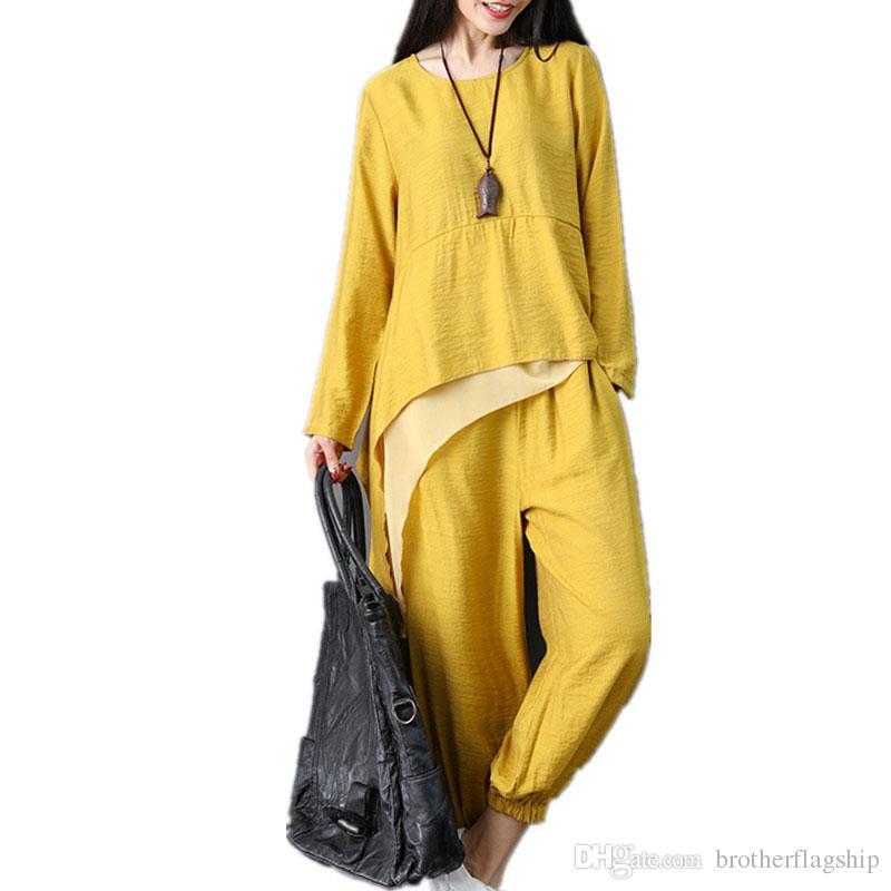 Cotton Linen Women Sets Loose Tops+Pants Two Piece Sets Women Casual Set Plus Size New Lady Autumn Clothes Suits Sets