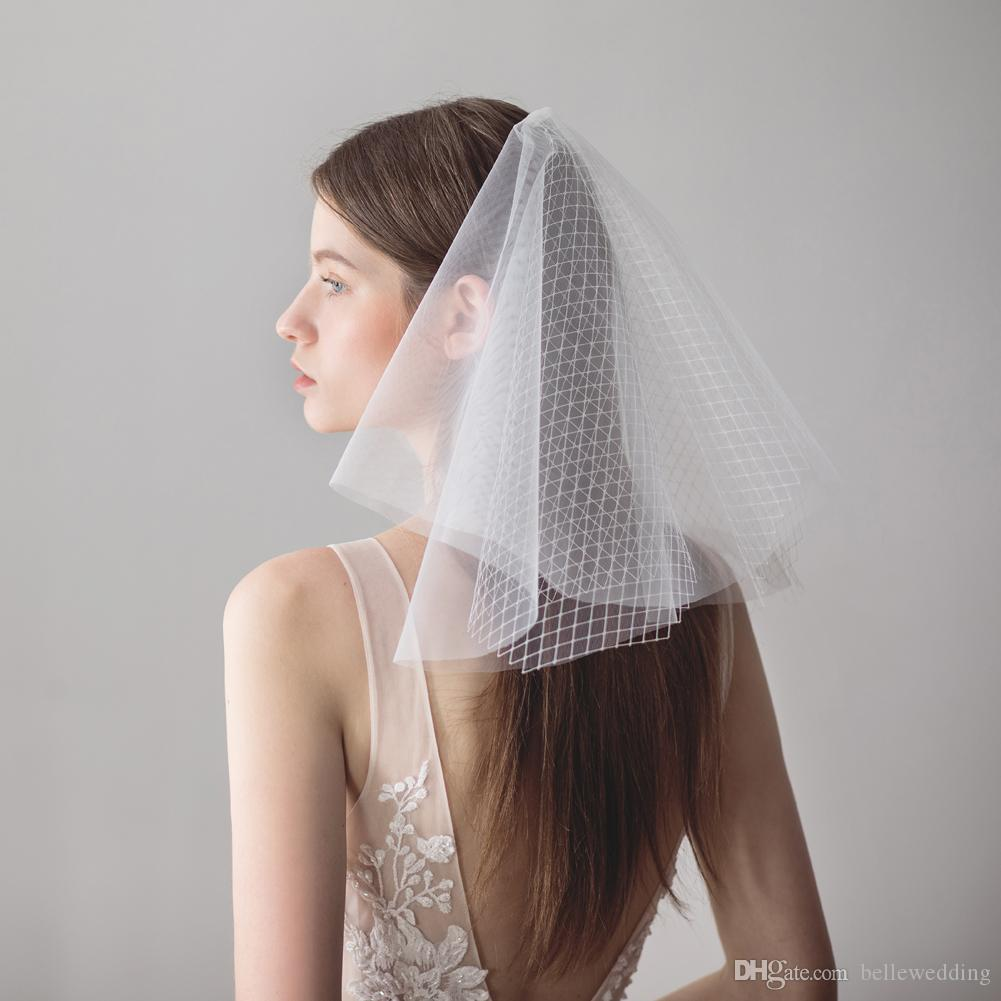 Vintage Wedding Veils Face Blusher Wedding Hair Pieces 2 Tiers With Beads Short Bridal Headpieces Bridal Veil Blusher Bw V611 Bridal Birdcage Veil Uk
