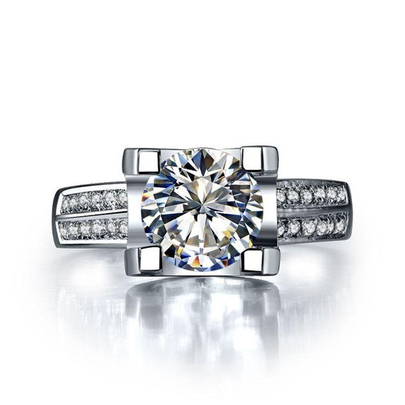 여성을위한 도매 럭셔리 1CT 사랑의 약혼 반지 합성 다이아몬드 925 스털링 실버 주얼리 18K 골드 도금 결혼 반지