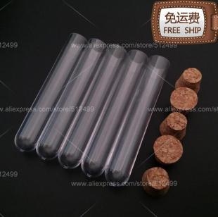 الشحن مجانا!!! 100PCS 15x100mm اختبار البلاستيك أنبوب مع سدادة الفلين أسفل مستديرة