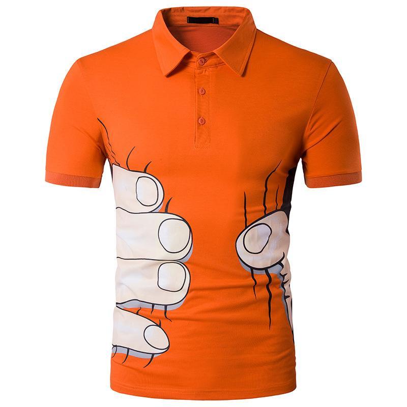 Men's fashion Big Hand Print Short Sleeve T-Shirt Summer Shirt men mens clothing