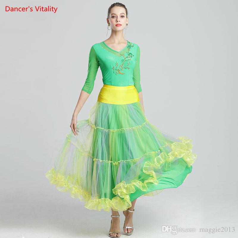 New Girls Modern Dance Embroidered Diamond Top Ruffled Hem Skirt Suit Competition Performance Women Ballroom National Standard Waltz Dancing
