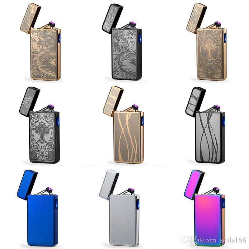 Household Electronic Tobacco lighter Noble Double Pulsed Arc Lighter USB Rechargeable Flameless Electric Arc Smoking lighters HH7-855