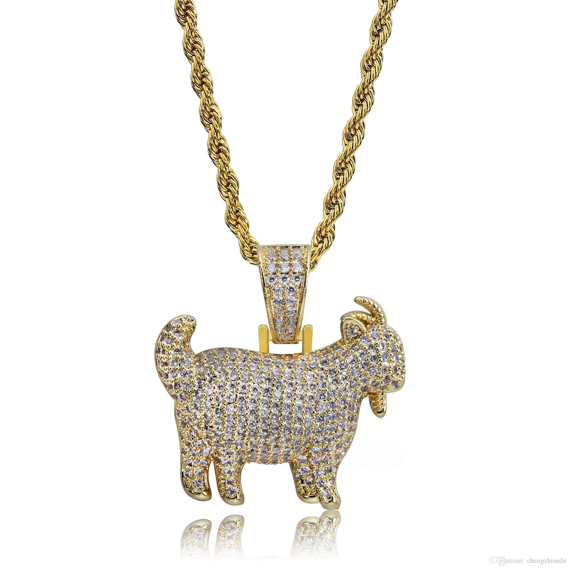 Shiny Trendy Goat Animal Pendant Necklace Charms For Men Women Gold Silver Color Cubic Zircon Hip Hop Jewelry