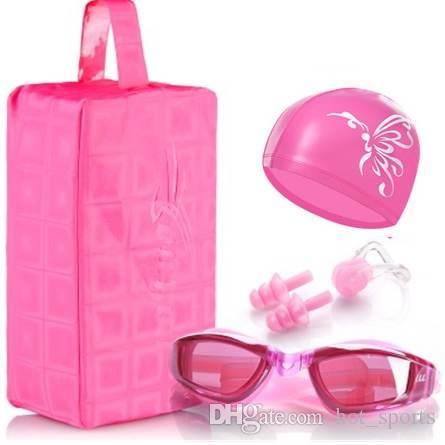 Waterproof swimming cap men and women swimming goggles Swim cap ear protection swimming hat Nose clip Earplugs