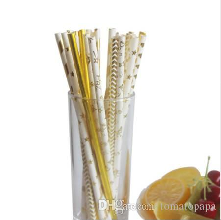 50Pcs/lot Gold Theme Striped Paper Straws Birthday Wedding Decorative Event Party Supplies Retro Disposable Drinking Straws