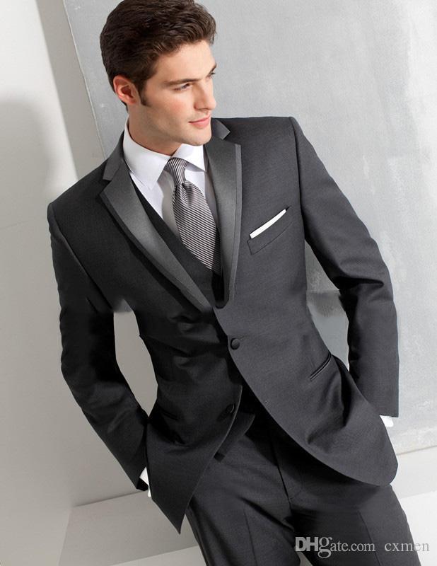 Custom Made Men Suits 2018 Wedding Suit for black Tuxedos Notched Lapel Groomsman Blazer Business Best men Suits 3 Pieces Jacket Pants Vest