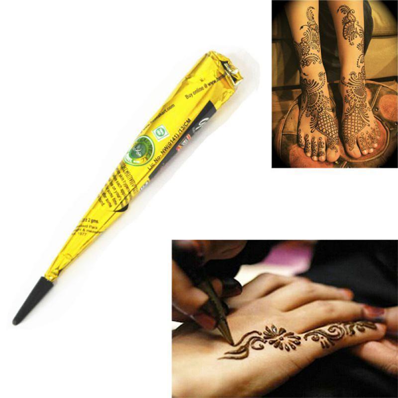 Indien Henné Pâte Cone Beauté Femmes Mehndi Finger Corps Crème Peinture DIY Dessin Temporaire pour Tatouage Pochoir 1pcs livraison gratuite