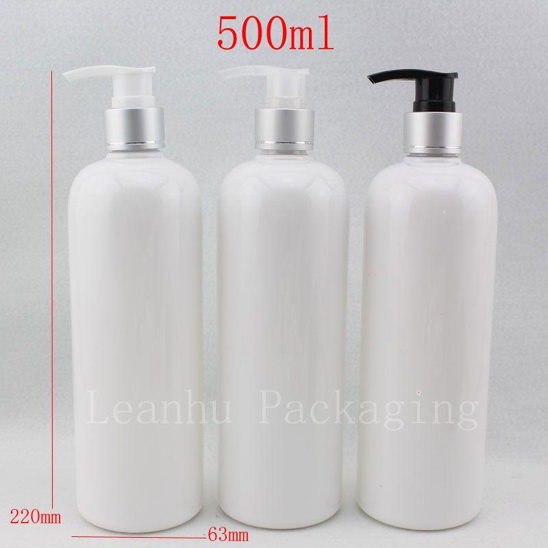 500 ml X 12 boş sıvı sabun pompası kozmetik beyaz şişeler, 500g alüminyum şampuan dağıtıcı pompa konteyner için losyon