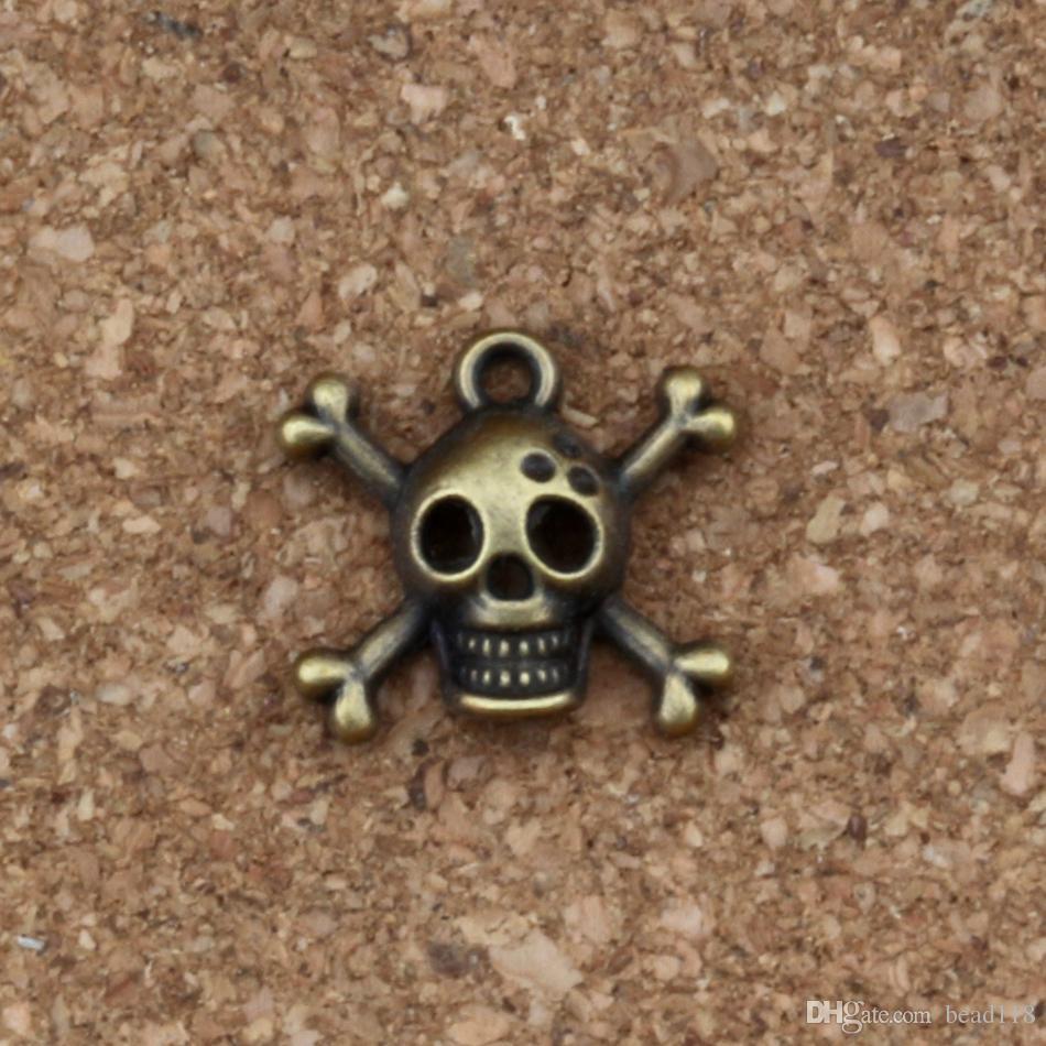 Crânio esqueleto osso Encantos Pingentes 100 Pçs / lote 16.5 * 15mm Antique bronze Moda Jóias DIY Fit Pulseiras Colar Brincos A-237