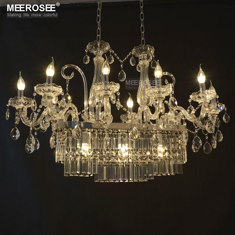 Lampadario di cristallo di rettangolo splendido apparecchio di illuminazione 13 lampadario di vetro di illuminazione che lucentezza lampada di goccia d'attaccatura della sala da pranzo